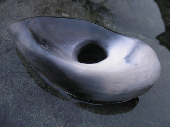 smoke fired ceramic axehead
